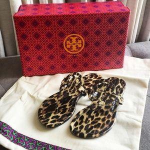 Tory Burch Leopard Patent Miller Sandals